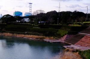 みやま池。後ろに見えるのは川内原発。